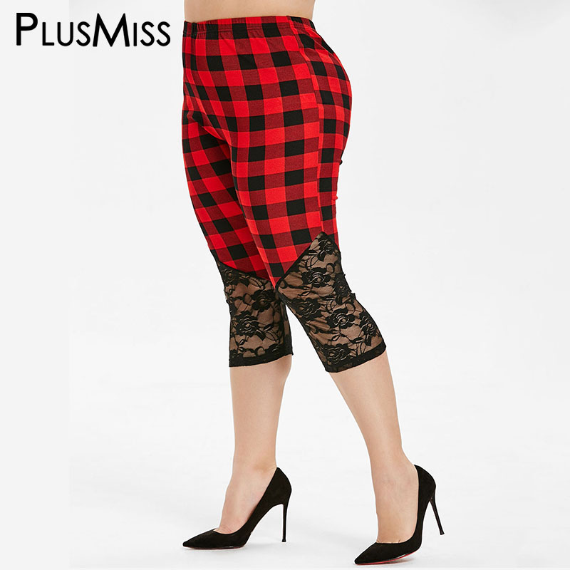 PlusMiss Plus Size 5XL Lace Plaid Capri   Leggings   XXXXL XXXL Women Big Size Short High Waist Jeggings Skinny Leggins Sexy Legins