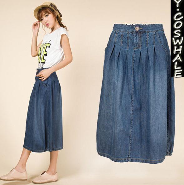 7396d86e9b Nueva Falda plisada de las mujeres señora algodón casual Denim Faldas nuevo  diseño largo flojo mujeres