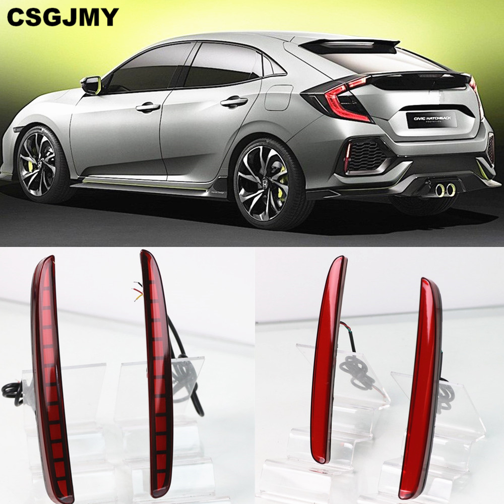 CSGJMY 2PCS Car LED Rear Fog Lamp Brake Light Reflector Bumper Light Car-styling For Honda Civic Hatchback 2016 2017 2018 2019
