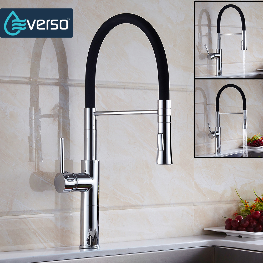 EVERSO New Black Kitchen Water Tap Pull Down Kitchen Mixer Sink Faucet Pull Out Taps For Sink Taps Hot And Cold Kitchen Faucets pull out kitchen faucet brass single holder put down hot and cold water mixer sink tap black