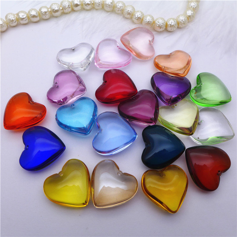 Jewelry Chandelier-Lamp Curtain-Bead Pendants Diy-Accessories Glass Charms Heart-Crystals