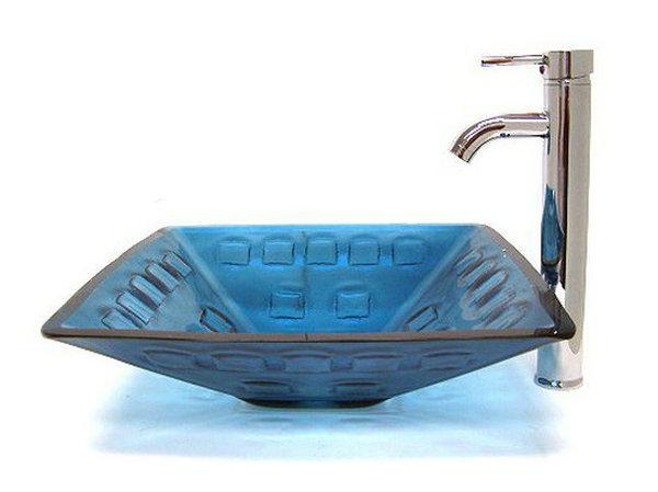 new blue square nuevo estilo europeo lavabo de cristal templado lavabo con grifo de latn