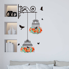 New Birdcage Flower Flying For Living Room Nursery Wall Stickers PVC Decals Sticker for Kids Home Decor