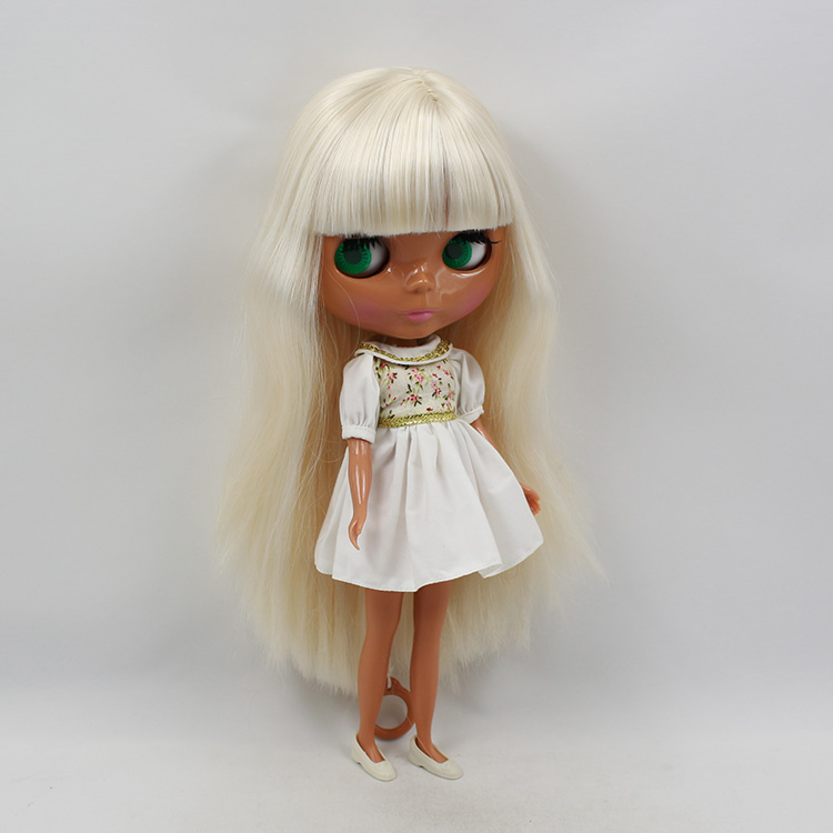 Blyth doll neo black doll fashion suit modified DIY doll toys for girls white long hair with bangs bjd blyth dolls for sale  free shipping neo blyth nude doll light gold hair with bangs suit for diy fashion dolls