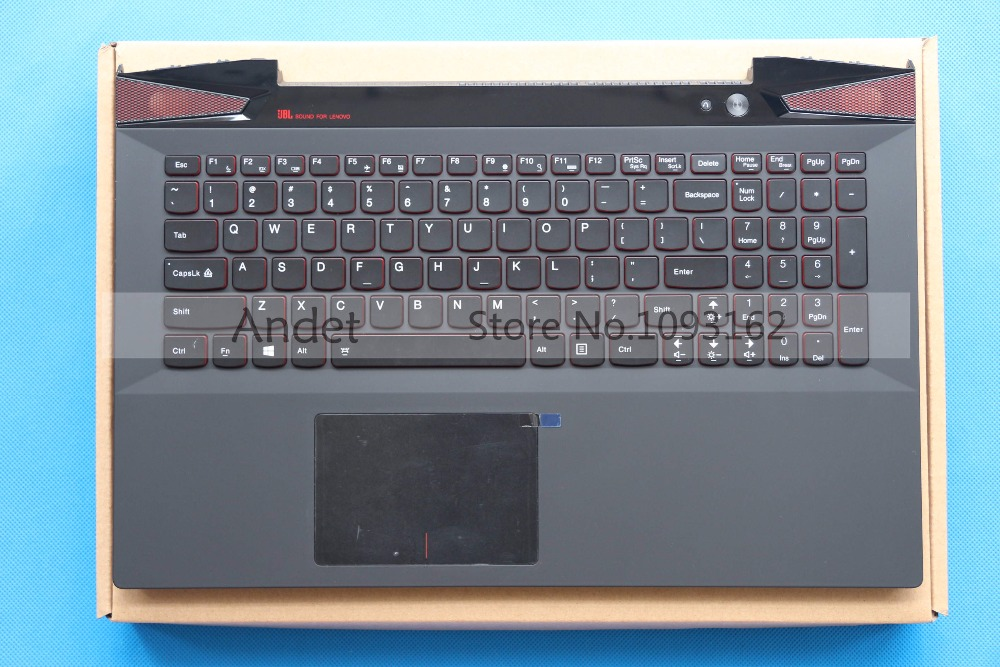 New Original Palmrest with US Backlight Keyboard for Lenovo IdeaPad Y50 Y50-70 KB Bezel Upper Cover with TouchPad AP14R000A00 new russian ru laptop keyboard for lenovo ideapad u530 palmrest keyboard bezel cover touchpad with backlit 90204072 black