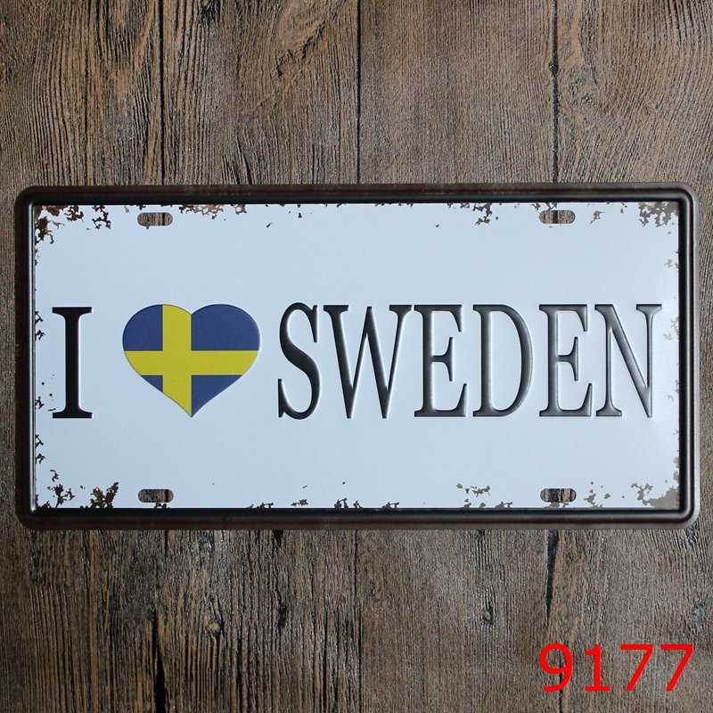 LOSICOE Vintage license plate I LOVE SWEDEN Metal signs home decor Office Restaurant Bar Metal Painting art 15x30 CM