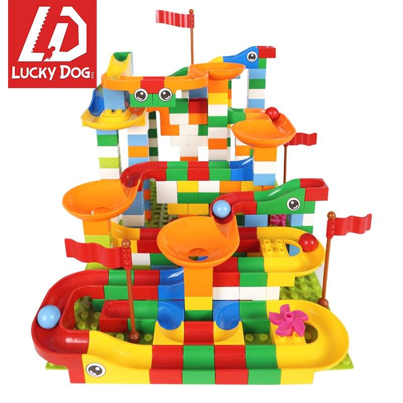 296 Stücke Marmor Rennen Run Labyrinth Kugeln Track Bausteine Erleuchten Bricks Kompatibel Mit Legoingly Duploed