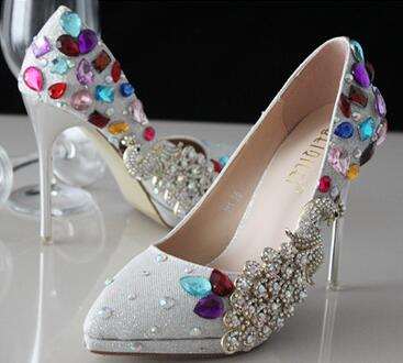 11CM stiletto thin high heeled women party pumps shoes sexy pointed toe TG568 silver coloful rhinestones big stone party shoe
