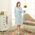 Cielo Azul caliente Robes Badjas Mujeres de Color Sólido de Manga Larga Terry Algodón Dormir Robe Albornoz Bata De Bain Femme Mujeres túnicas