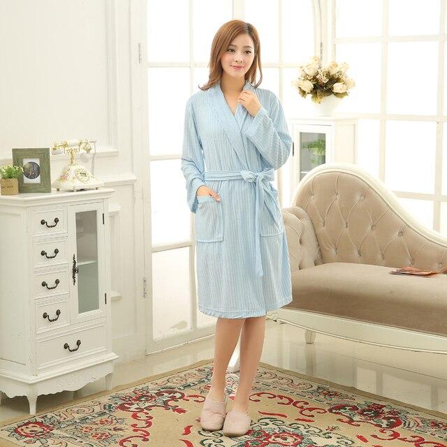 Hot Sky Blue Robes Badjas Women Solid Color Long Sleeve Terry Cotton Sleep  Robe Bathrobe Peignoir ce4d7822b