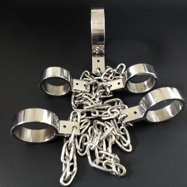 3 шт./компл. секс инструменты для продажи (воротники + наручники + скованы) 100% нержавеющая сталь BDSM связывание удерживающих устройств секс игрушки для пар