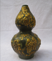 christmas decorations for home+ Collectible Chinese Decorated Old Bronze Carved Gold gilt Vase Bottom of the mark/Metal Vase