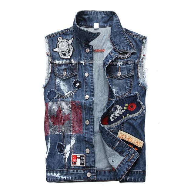 Trendy High Quality Jean Vest Jacket Mens Slim Fit Rock Hip Hop
