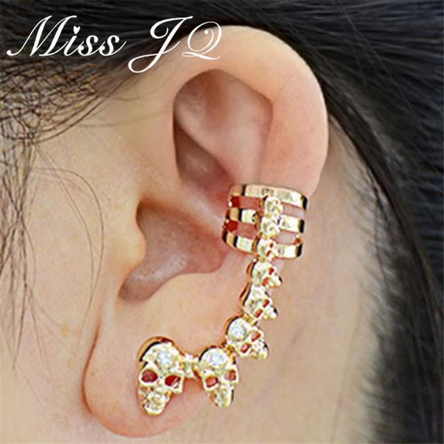 Miss Jq Vintage Fashion Punk Style Alloy Skull Ear Clip Cool Gold Silver Cuff Earrings