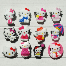 120pcs Hello Kitty Cartoon PVC Shoe Buckles Shoe Charms Fit Croc For Shoes&wristbands with Holes Furniture Accessories Kids Gift