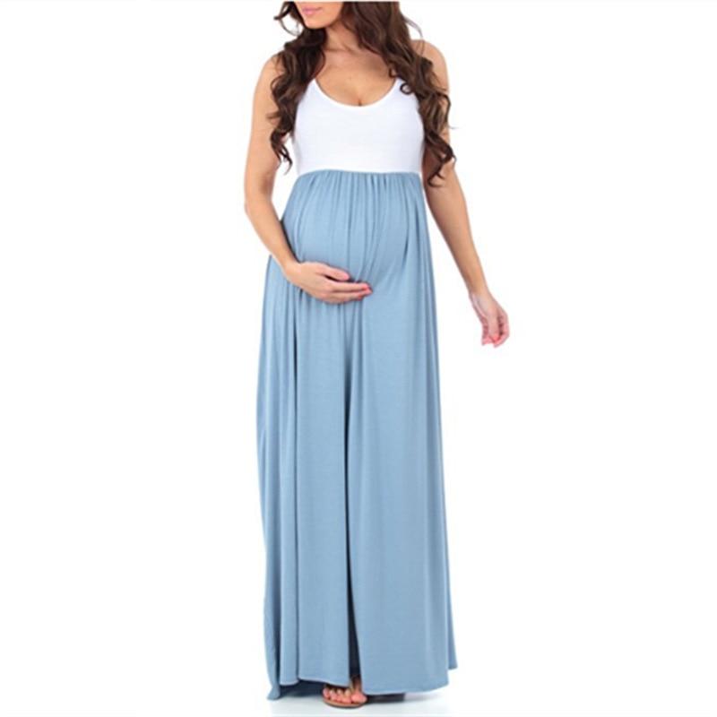 Teenster Maternity Clothing Maternity Dresses Sleeveless Pregnancy Dress Vestido Patchwork Large Pendulum Gravida Clothes