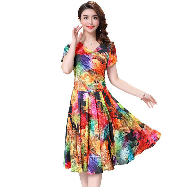 935243a3a6749 US $37.24 |Aliexpress.com : Buy Women Dress 2018 Summer Vintage Milk Silk  Dress 11 Colors Floral Printed Casual Party Beach Sundress Plus Size 3XL ...
