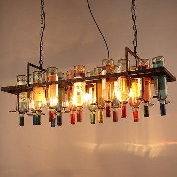 Vintage Retro Loft BUTELKA WINA żelaza wisiorek światło amerykański kreatywny Bar żelaza Hanglamp sklepu Cafe Bar oprawę oświetleniową