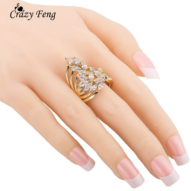Crazy Feng Fashion Jewelry Ring Gold-color Luxury AAA Cubic Zircon Finger Ring f