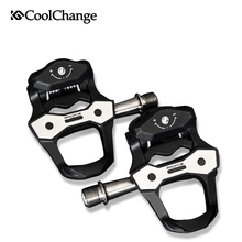 цена на CoolChange Road Bike Pedals Self-locking Pedals Ultralight Titanium Shaft Carbon Fiber Sealed Bearing Cycling Bicycle Pedal
