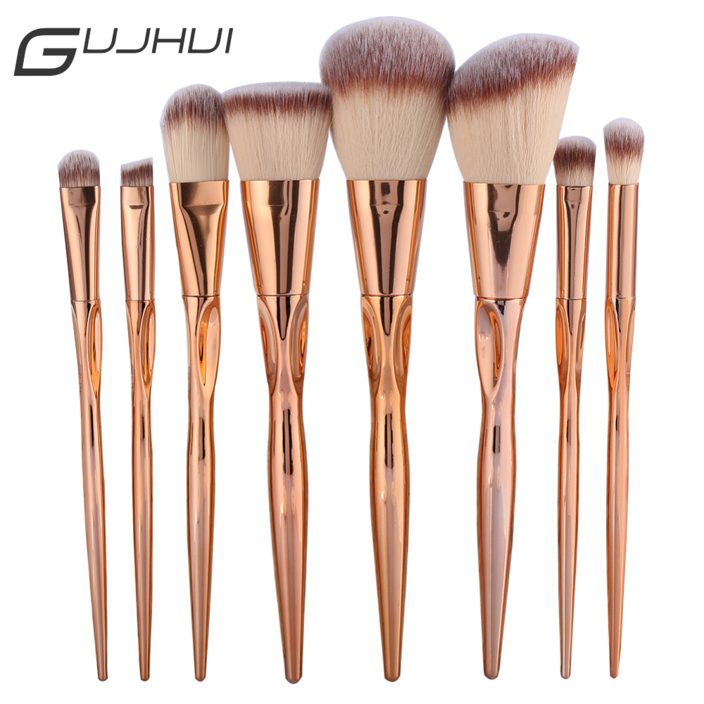 GUJHUI Pro 8pcs Metal Makeup Brushes Set Cosmetic Face Foundation Powder Eyeshadow Eyebrow Blush Lip Plating Make Up Brush Kit gujhui 10pcs makeup brushes set cosmetic face foundation powder eyeshadow blush blending contour make up brush with puff and bag