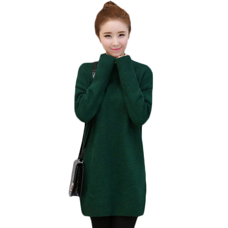Sweaters Women Loose Pullover Turtleneck Women's Knitted Cotton Dress Autumn Winter Long sleeved Party Mini Dress Vestidos XH857