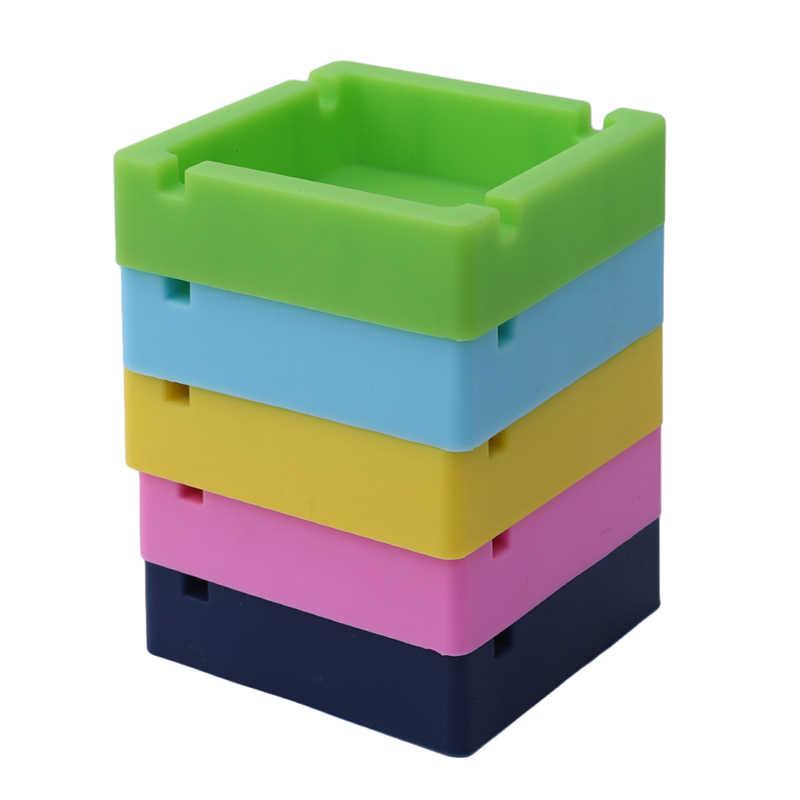 1 unidad de Cenicero de silicona Multicolor bandeja de ceniza redonda hogar decorativo lavable cigarro sin humo hombres suave respetuoso con el medio ambiente bolsillo