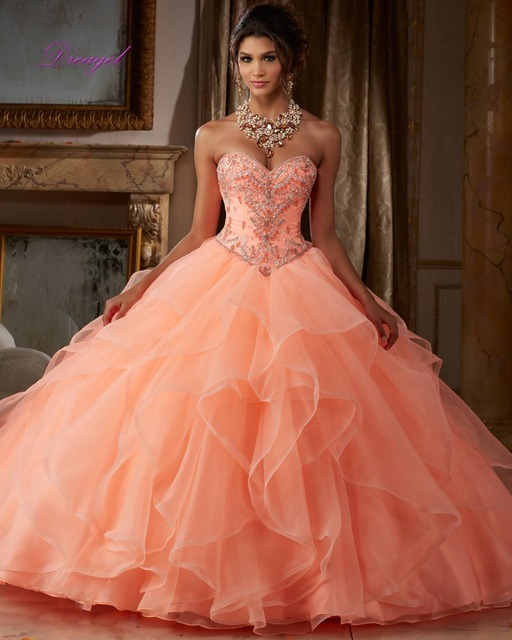 c25818666e7 Dreagel Gorgeous Crystal Beaded Ball Gown Quinceanera Dresses Tulle Lace-up  Debutante Gowns Sweet 16