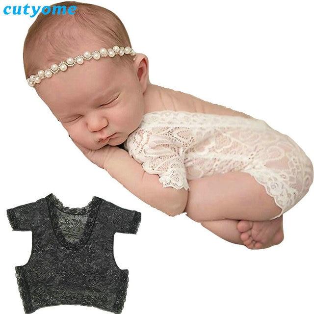 Cutyome 50pcs/lot Newborn Baby Girls Lace Romper Infant Boy White/Black Jumper Newborn Photography Props Shoot Bebes Fotografie