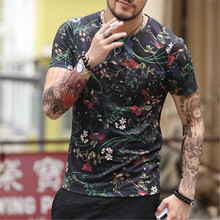 2017 new spring men's digital printing short sleeved T-shirt cotton casual tops tees Fitness Mens T-shirt brand clothing T4315