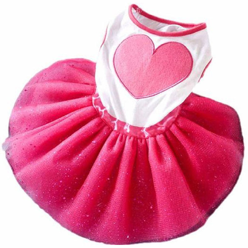 Fashion Pet <font><b>Dog</b></font> Puppy Tutu Princess <font><b>Dress</b></font> Cute Heart Printed Lace Skirt Clothes Pet Apparel for Doggy and Kitten XS S M L XL <font><b>XXL</b></font> image