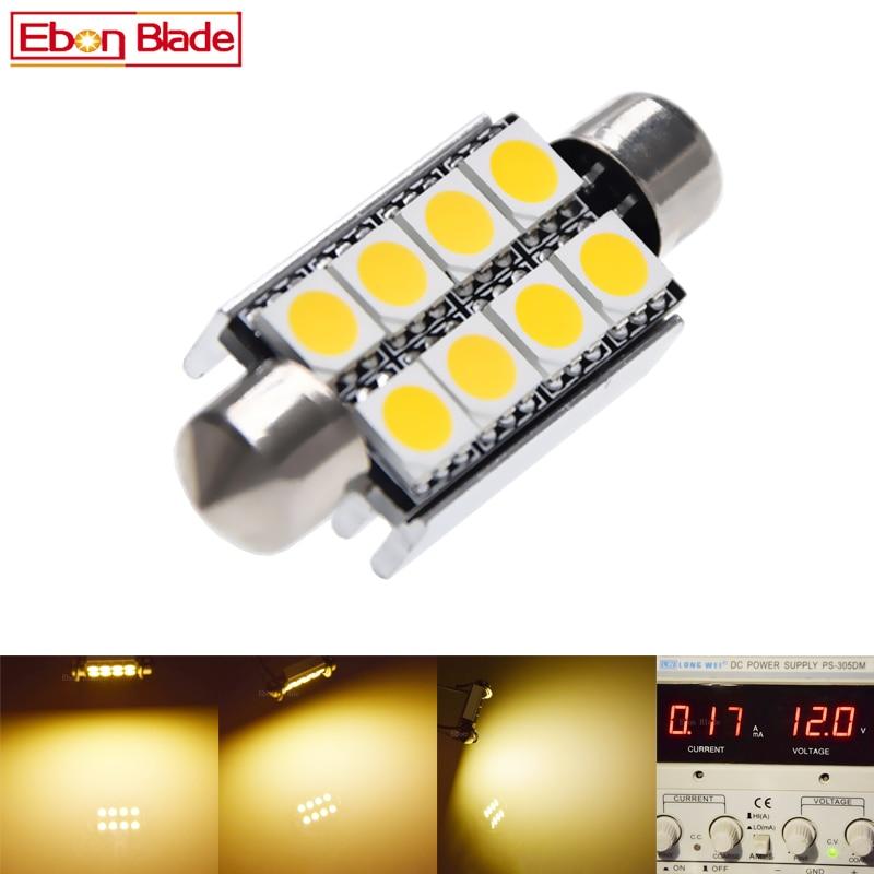 2 X 42mm 41mm LED Festoon Car Lights 5050 8smd 8 Smd Dome Light Lamp Canbus Error Free DC 9-14V Warm White