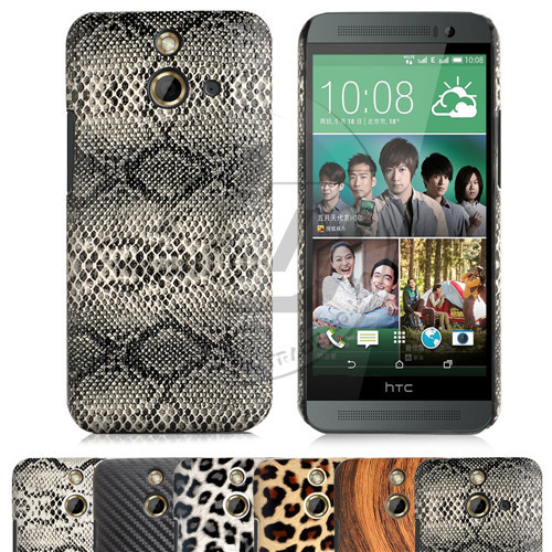 Chic Style Mobile Case Luxury For HTC One E8 Skin Snake Leopard Carbon Fiber Wood Back Cover For HTC E8