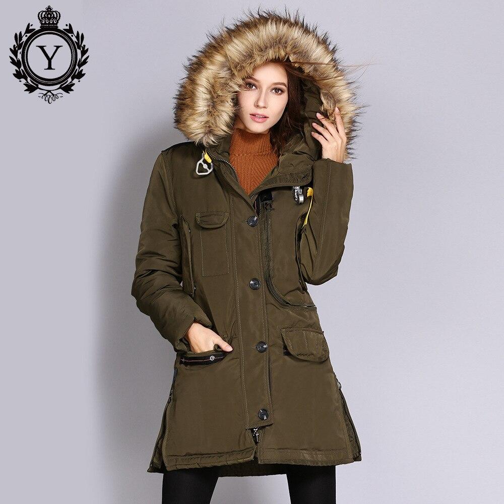 COUTUDI Luxury Brand Girls Hooded Streetwear Womens Fox Fur Collar Winter Jacket Warm Long Parkas Woman Coat Chaqueta Mujer