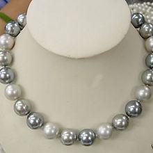 """8 мм элегантное белое серебряное серое Жемчужное ожерелье 1"""" модные ювелирные изделия"""