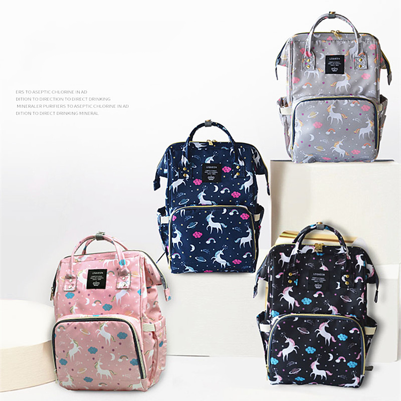b219e404164f Unicorn print baby care diaper bag waterproof mother maternity backpack  unicorn nappy bag large capacity nappy changing baby bag