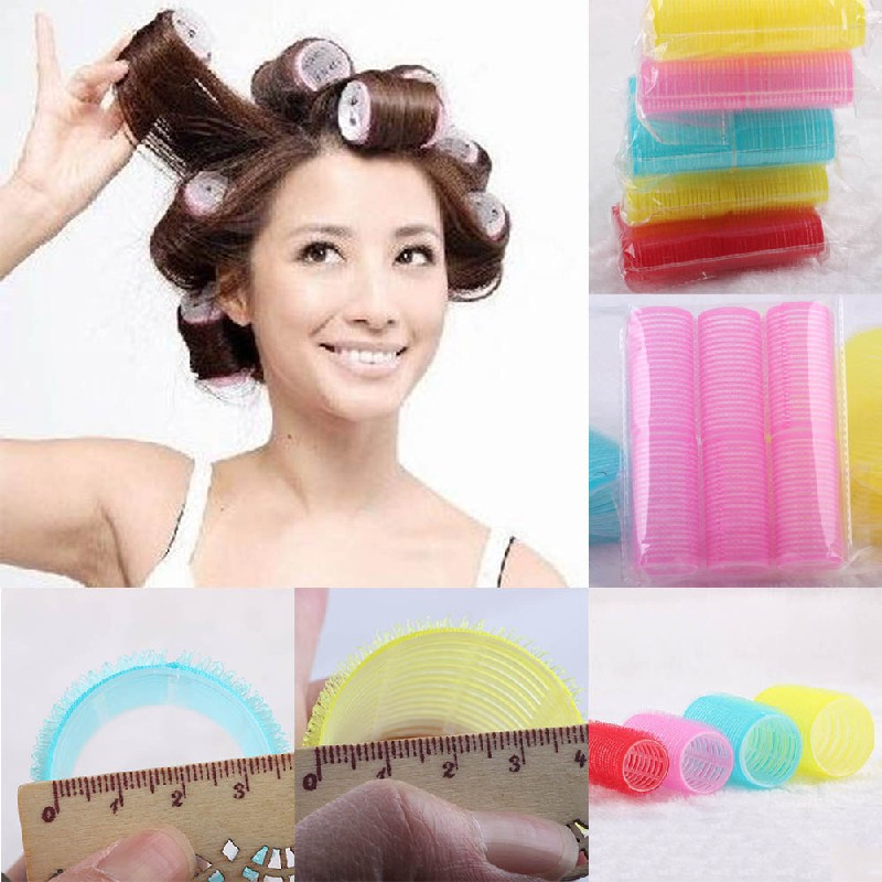6pcsset Big Self Grip Hair Rollers Cling Any Size Diy Hair Curlers