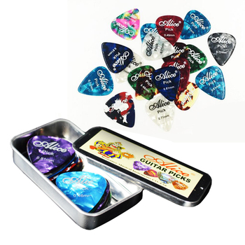 24 Pieces Guitar Picks with one Square Metal Box 3 Kinds Thickness Guitar Accessories Picks Acoustic Electric Plectrums 30pcs alice pearl celluloid acoustic electric guitar picks plectrums 1 plastic picks box case free shipping