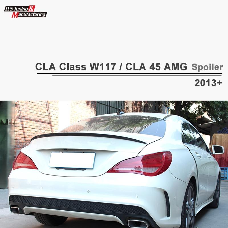 W117 AMG Style Carbon Fiber Wing Rear Back Spoiler For Mercedes CLA Class W117 CLA45 AMG 2013 - 2017 CLA 200 amg style mercedes w212 matt black carbon fiber trunk spoiler wing for benz w212 sedan e200 e250 e260 e63 2014 2015