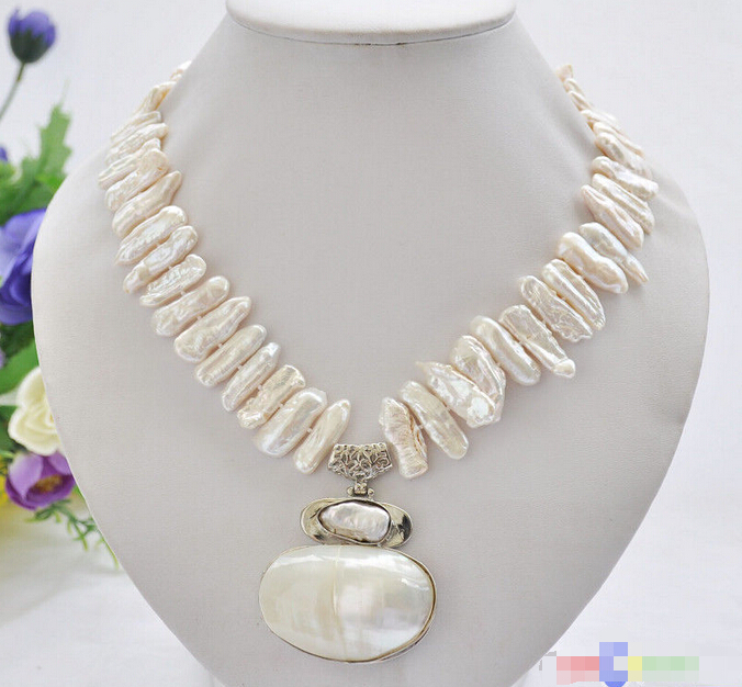 HOT## Wholesale FREE SHIPPING >>> P5011 17 25mm white biwa dens freshwater pearl necklace mabe pendant