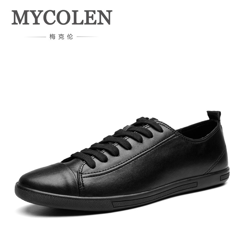 MYCOLEN New 2018 Hot Sale Brand Fashion Comfortable Men Shoes Lace-Up Solid Leather Men Causal Shoes Scarpe Uomo Estive bexzxed new brand fashion comfortable men shoes lace up solid leather shoes men causal huarache shoes hot sale
