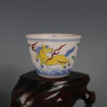Antique MingDynasty(ChengHua) porcelain cup,The horse in the sea,DouCai,Hand-painted crafts,Collection&Adornment,Free shipping