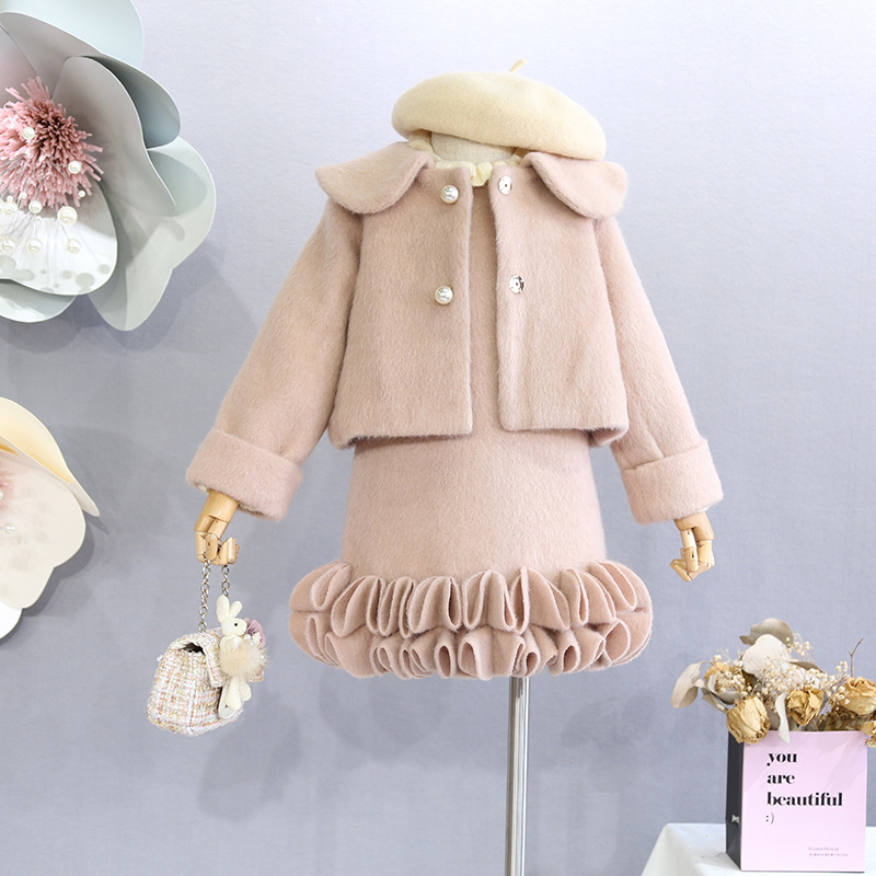 Children's clothing 2018 autumn winter girl sweet princess petal vest vest doll collar plus pearl pearl coat jacket contrast collar pearl detail top