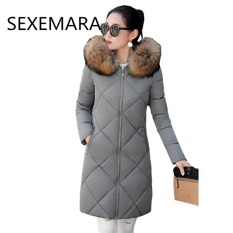 Women s winter Cotton jacket 2017 New fashion hooded Overcoat Long section Fur collar thick jacket