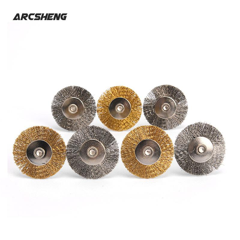 10Pcs Dremel Accessories 25 Mm Steel Or Brass Rotary Brush Dremel Wire Wheel Brushes For Grinder Rotary Tools