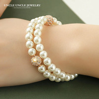 Beautiful 18K Gold Plated High Quality Olivet Austrian Rhinestones Double Deck Design Luxury Lady Bracelet Wholesale