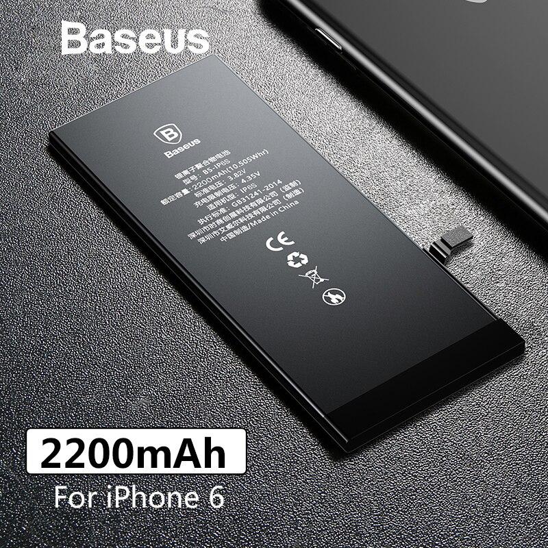 Baseus teléfono Original de la batería para iPhone 6 2200 mAh de alta capacidad de baterías de reemplazo para iPhone 6 con libre de herramientas de reparación de
