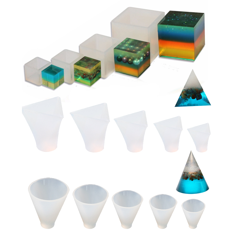 Facemile 14PCS Set Jewelry Tools Silicone Resin Craft DIY Pyramid Cone Pattern Making Geometric Jewelry Pendant
