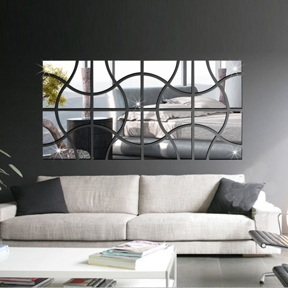 4pcs Squares Acrylic Mirror Effect Wall Stickers Modern