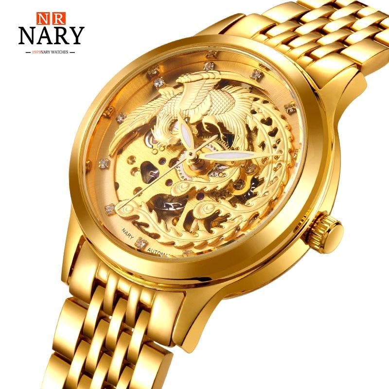 """2017 m. NARY prabangaus prekės ženklo """"Feniksas"""" auksiniai laikrodžiai, automatiniai, mechaniniai, laikrodžiai moterims, skeletas, cirkonis, moteriškas, vandeniui atsparus laikrodis"""